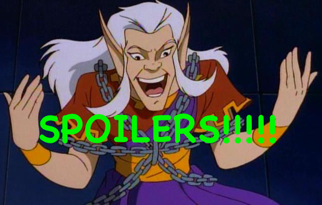 An image of Puck, the trickster elf from Disney's Gargoyles, holding his arms out with palms facing up and staring down at the word SPOILERS with a wild, open-mouthed expression.
