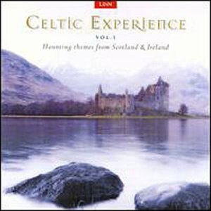 Celtic Experience CD.  You see a calm body of water surrounded by misty hills under a white sky.  A castle stands at the edge of the water, at the foot of the hills, and two rocks rise out of the water in the foreground.