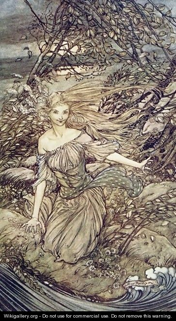Painting by Arthur Rakham of Undine, a water nymph from the book by Friedrich de la Motte Fouque.  The nymph has pale skin and long blond hair that blows wildly in a strong breeze.  She kneels beside a choppy body of water, wearing only a simple white dress that sags at the top, showing her bare shoulders.