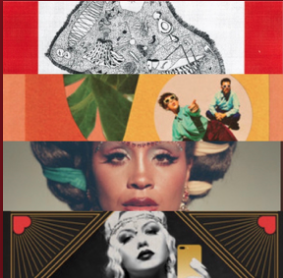 Cover photo for my BUST a Move playlist.  It's a square made of four horizontal banners, each showing part of a CD cover, from Kalbells' Max Heart to Scott Bradlee's Jazz Age Thirst Trap.