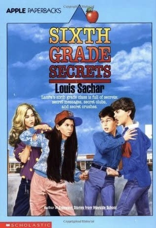 Original cover of Sixth Grade Secrets, by Louis Sachar.  Four students stand on a school playground.  Two of them look like they're about to start throwing punches.  Another girl and boy try to hold the first two back.