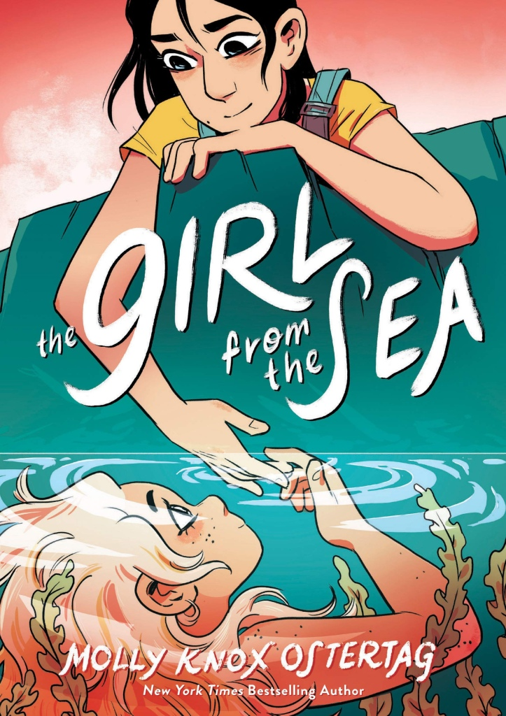 Cover of The Girl From the Sea, by Molly Knox Ostertag.  A girl with shoulder-length black hair reaches over the edge of a sea rock to touch hands with another girl, who is underwater.  The second girl has long white-blond hair and is surrounded by kelp stalks.